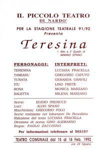 Locandina stagione teatrale 91/92